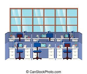 kabinki, praca, odizolowany, ikona