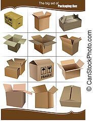 kabiny, pakowanie, komplet, cielna, karton