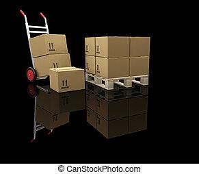 kabiny, wózek, ręka