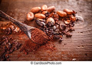 kakao, (cacao), fasola