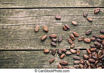 kakao, drewniany, fasola, stół