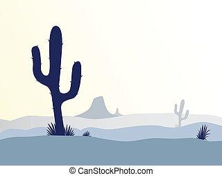 kaktus, pustynia, zachód słońca