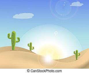 kaktus, scena, pustynia