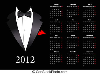 kalendarz, 2012, europejczyk, wektor