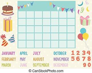kalendarz, elementy, ilustracja, urodziny