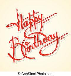 kaligrafia, urodziny, szczęśliwy