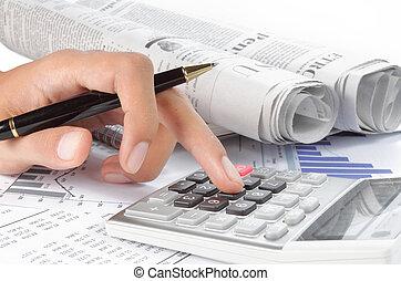 kalkulator, babski, pióro, siła robocza