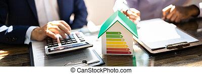 kalkulator, skuteczny, energia, rewizja, używając, dom
