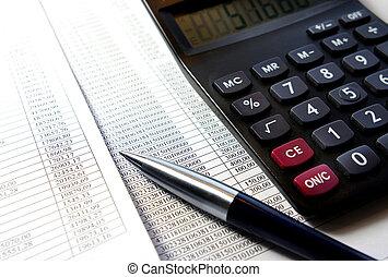kalkulator, uważając, biuro, dokument, pióro, stół