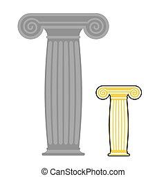 kamień, column., poczta, grek, stary, starożytny, wysoki, wektor, illustration.