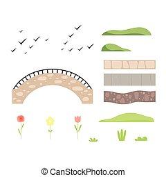 kamień, elementy, park, ilustracja, krajobraz, wektor, projektować, most, architektoniczny, konstruktor, rośliny, ptaszki, ścieżka