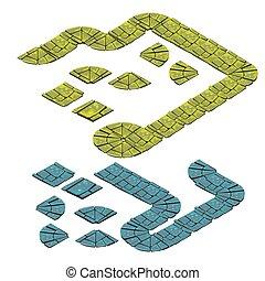 kamień, komplet, illustration., odizolowany, tło., wektor, ścieżka, biały, fragmenty