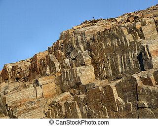 kamień, skalisty, ściana, -, goły, krajobraz