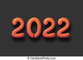 kamień, znak, 2022, czarnoskóry, pomarańcza, tło., balloon