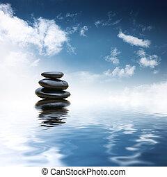 kamienie, woda, na, zen