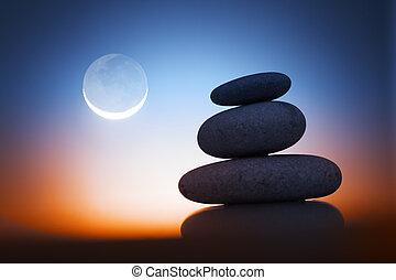 kamienie, zen, noc