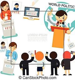 kampania, szablon, płaski, wybór