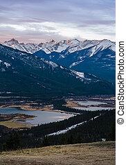 kanada, banff, na, park, jeziora, vermilion, obsada, rundle, alberta, krajowy, wschód słońca