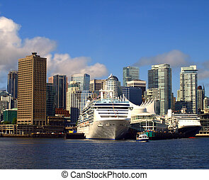 kanada, cityscape, ships., vancouver, rejs