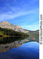 kanada, columbia, yoho, krajowy, brytyjski, park, jezioro, szmaragd
