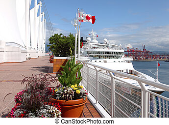 kanada, cumowany, bc, &, statek, miejsce, rejs, vancouver, canada.