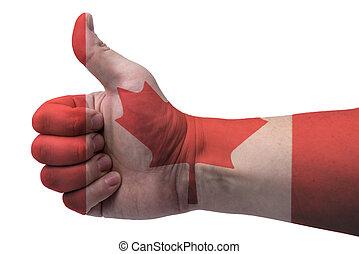 kanada, do góry., bandera, kciuk, ręka