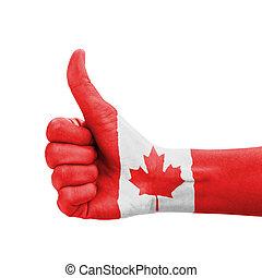 kanada, do góry, kciuk, barwiony, symbol, ręka, bandera, doskonałość