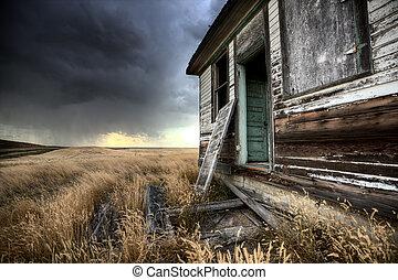kanada, dom farmera, opuszczony, saskatchewan