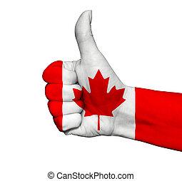 kanada, kolor, kciuk, barwiony, do góry, odizolowany, bandera, ręka
