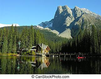 kanada, yoho, obsada, park, jezioro, burgess, szmaragd, krajowy