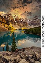 kanadyjczyk, jezioro, prospekt, skaliste góry, morena, krajobraz