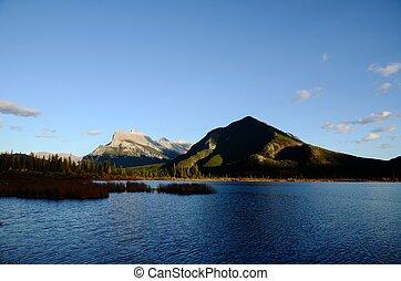 kanadyjczyk, vermilion, jeziora, obsada, rundle, jesień, kanada, rockies