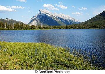 kanadyjczyk, vermilion, jeziora, obsada, wiosna, rundle, kanada, rockies