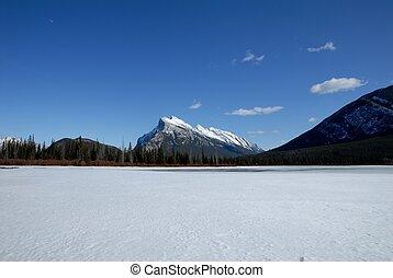 kanadyjczyk, zima, vermilion, obsada, jeziora, rundle, kanada, rockies