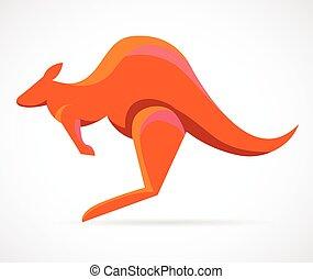 kangur, wektor, -, ilustracja