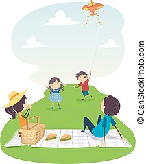 kania, rodzina, ilustracja, piknik, stickman, przelotny