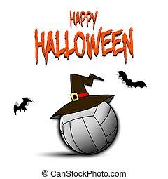 kapelusz czarownicy, piłka, hallowen, szczęśliwy, siatkówka