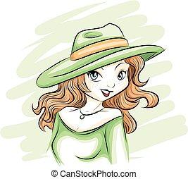 kapelusz, kobieta, zielony