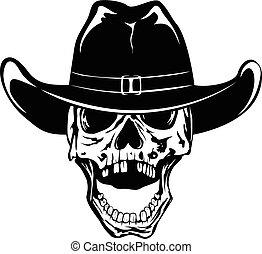 kapelusz, kowboj, 2, var, czaszka