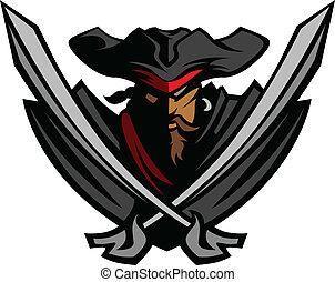 kapelusz, miecze, pirat, maskotka