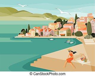 kapelusz, przeciw, domy, gorący, morze, bulwar, seagulls, robiony, tło, jachty, dzień, piknik, dachy, lato, czerwony, kobieta, mucha