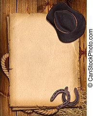 kapelusz, tło, western, horseshoe., kowboj
