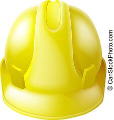 kapelusz, twardy, bezpieczeństwo, żółty, hełm