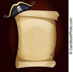 kapelusz, woluta, stary, pergamin, pirat