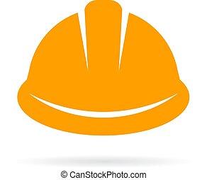 kapelusz zbudowania, twardy, żółty, ikona