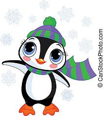 kapelusz, zima, pingwin, s, sprytny