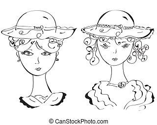 kapelusze, kobieta, retro, rys