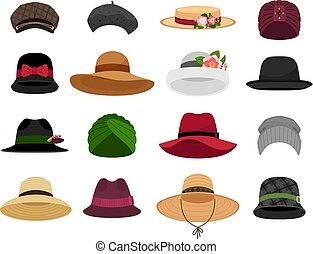 kapelusze, samica, czapki