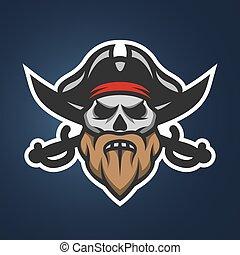 kapitan, pirat, czaszka, swords.