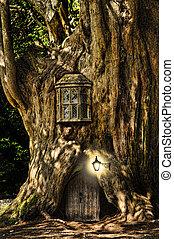 kaprys, dom, fairytale, drzewo, miniatura, las